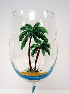 Palm Tree Wine Glass - Beach Wine Glass - painted glass on Etsy, $20.00