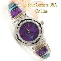 Women's Multi Color Inlay Sterling Watch Shown with Mohave Purple Turquoise Face Navajo Arnold Yazzie Four Corners USA OnLine Native American Jewelry NAW-1428