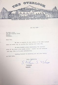 Another piece of prop letterhead from The Shining, this one filled with typewritten text. It also includes two signatures from hotel manager Stuart Ullman, played by actor Barry Nelson. It is this letter that Stuart Ullman can be seen signing as Jack arrives for his interview near the beginning of The Shining. The multiple signatures are presumably due to the many takes that were likely shot, and this letter was probably just one of many used during filming.  The Overlook Hotel letterhead…