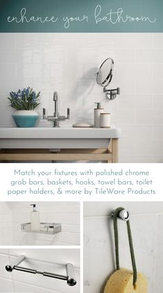Match your fixtures with polished chrome grab bars, baskets, hooks, towel bars, toilet paper holders, and more by TileWare Products. Bathroom and shower storage solutions that are designed to last.