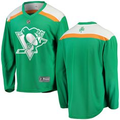 Pittsburgh Penguins St. Patrick's Day jersey.  St. Paddy's green MLB apparel available in S, M, L, XL, XXL (2X), 3XL (3X).  Custom St. Pats gear available for both men and women. #stpatricksday #pittsburghpenguins #nhljerseys