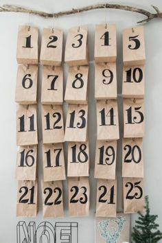 papiertaschen nummiriert adventskalender füllen