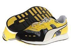 Puma Men's RS100 DD Shoes Shadow/Black/ Vibrant/ Yellow 8
