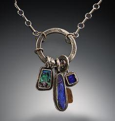 Boulder opal, silver, 22K gold