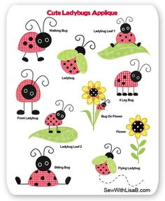 Cute Ladybugs Embroidery Applique
