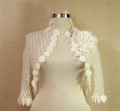 Night in White Satin / Crochet Shrug Flower Brooch by lilithist, $120.00