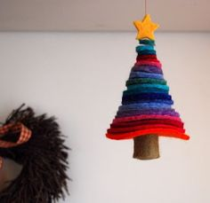 Oh Felty Christmas Tree! |Need thick felt to do this one but kids could practice cutting circles and sew with blunt needles