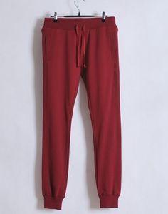 Women Summer Casual Long Pencil Pants Burgundy Cotton M/L/XL@WH0102bu