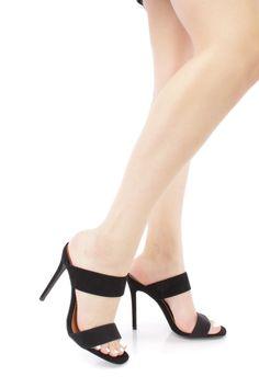 Black Open Toe Double Strap Heels