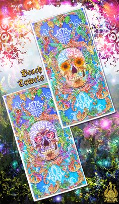Items similar to Colorful Sugar Skull Beach Towel on Etsy Friendship And Dating, Skull Art, Pastel Goth, Holidays And Events, Sugar Skull, Beach Towel, Psychedelic, Diy And Crafts, Custom Design