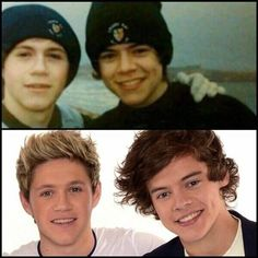 Niall Horan and Harry Styles - then and now