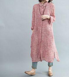 Women Single breasted Loose Fitting Long Maxi Dress/ autumn long dress/ long shirt/ Women gown