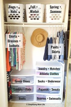 Organize a Small Closet on a Budget in 5 Simple Steps Streamline your start to the day by taming your closet! Here are 5 simple steps to organize a small closet on a budget - even if you live in a rental! Bedroom Organization Diy, Small Closet Organization, Dorm Room Organization, Bedroom Storage, Organization Hacks, Organize Small Closets, Kids Closet Storage, Organized Closets, Kid Closet