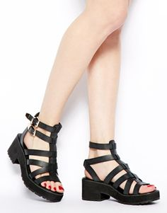 Image 4 of New Look Weighty Black Chunky Heeled Sandals
