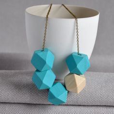 Pastel Geometric Cube Wooden Necklace by artysmarty, the perfect gift for Explore more unique gifts in our curated marketplace. Wooden Bead Necklaces, Wooden Beads, Arrow Necklace, Beaded Necklace, Brass Chain, Cube, Fashion Accessories, Handmade Jewelry, Jewelry Design
