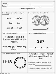 MORNING WORK {Daily Common Core & More} - DECEMBER ~ 2nd Grade ...