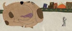Bostezo. Ilustración textil. Bordado y aplicación en tela. Embroidery. Valeria Gallo.
