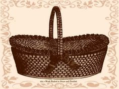 "Crochet a Victorian straw basket. You can use anything in stead of straw, for example plastic bags cut into ""plarn"" or paper yarn, and use pastel colored yarn instead of the brown silk yarn in the pattern."