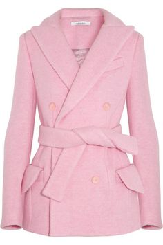 Pink coat- This is lovely! Cool Coats, Double Breasted Coat, Pink Outfits, Carven, Pink Fashion, Winter Wardrobe, Look Cool, Pretty In Pink, Perfect Pink