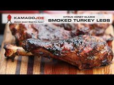 One of my favorite street festival foods is those huge smoked turkey legs! Smoked Turkey Legs, Festival Foods, Ceramic Grill, Kamado Joe, Honey Glaze, Grilling, Bbq, Pork, Meat