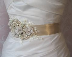 Light Champagne Bridal Sash with Ivory Lace, Crystals and Pearls, Oatmeal Bridal Belt, Pale Taupe Wedding Belt - LAKESHORE