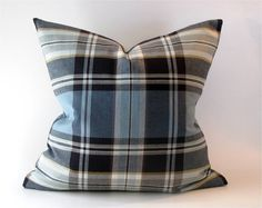 Pillow Cover Blue, Tan, and Brown Plaid  Blues, brown, and tan makes up the colors on this lovely twill fabric pillow cover.  Pillow cover can be used with a down or feather pillow insert that is 1-3 inches larger— depending on the fullness that you desire. The fabrics are medium weight, upholstery fabric  Pattern placement may vary. **This offering is for the pillow cover only—pillow insert is not included.  Product details: Serged seams Invisible zipper closure **Dry clean only  *Colors…