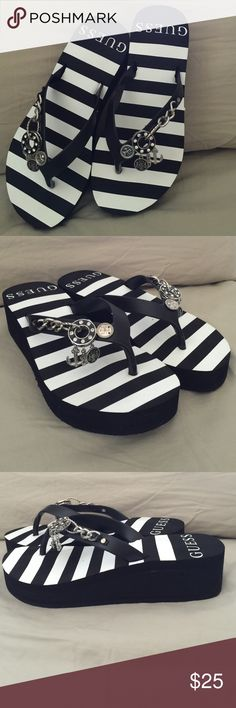 NWOT Jeweled Guess Sandals Never worn! With dangling jewels and the black and white design, you can wear these with anything. 1 3/4' heel become only 3/4' with the 1' platform. Guess Shoes