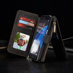Retro Removable Leather Zipper Wallet Card Case For Samsung Galaxy S7 Edge Sale - Banggood.com