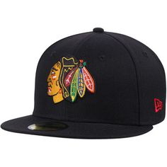 Men s New Era Black Chicago Blackhawks Team Color 59FIFTY Fitted Hat  Chicago Blackhawks 5ca5fd25279