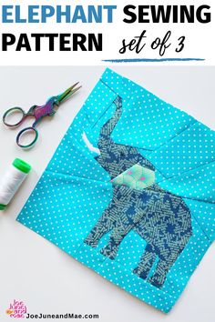 Are you an animal lover? Looking for Elephant quilts pattern? Check out this quilt block pattern of Elephant, set of 3! Very easy to follow! #JoeJuneandMae #elephantquiltspattern #elephantquilts #animalquilts Beginner Quilt Patterns, Baby Quilt Patterns, Modern Quilt Patterns, Paper Piecing Patterns, Sewing Patterns, Quilting Patterns, Elephant Paper Piecing, Elephant Quilts Pattern, Quilting Projects