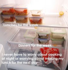 buy what you need for the week; make your meals on the weekend; store it in glass tupperware so it's easily reheated, and you're good to go!