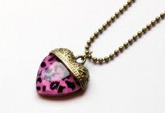 Pink leopard animal print heart pendant necklace