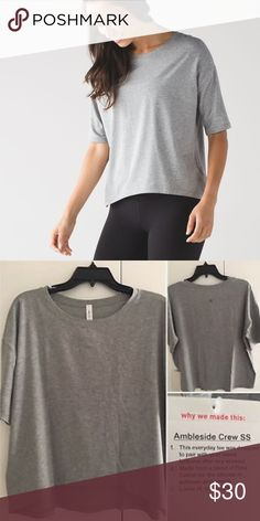 Lululemon short sleeve top worn only a few times, great condition. Grey lightweight short sleeve shirt. Tags not attached. open to offers lululemon athletica Tops