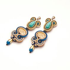 Turquoise gold bohemian earrings soutache. Dangle boho earrings. Statement earrings turquoise gold. Unique big earrings stud. Gift for her.
