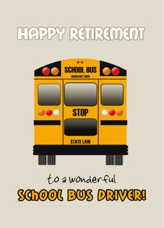 First Day of School Yellow School Bus Time toi Get Back on the Bus card. Personalize any greeting card for no additional cost! Cards are shipped the Next Business Day. Bus Driver Gifts, School Bus Driver, Driver Card, Bus Driver Appreciation, Bus Times, Great Schools, Bus Stop, First Day Of School, Retirement