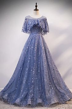 Blue Sequins Tulle Hole Back Long Cap Sleeve Prom Dress, Formal Dress Prom Dresses With Sleeves, Prom Dresses Blue, Ball Dresses, Royal Dresses, Cheap Formal Dresses, Cheap Evening Dresses, Dress Formal, Vintage Evening Dresses, Formal Prom