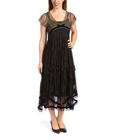 Look what I found on #zulily! Black Swiss Dot Empire-Waist Dress - Women & Plus by Nataya #zulilyfinds