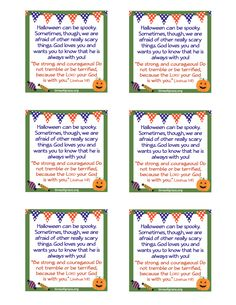 free printable cards with a message and scripture to hand out with trick or - Halloween Trick Ideas