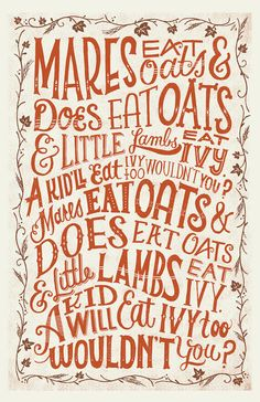 Mares Eat Oats Silkscreened - I remember my mother singing this little ditty.