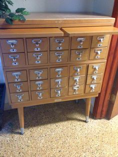 Authentic library card catalog cabinet. Great for storage uses. by BygoneLibrary on Etsy