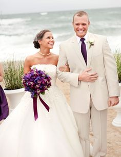 Plum details for a beach wedding! Photo by Echard Wheeler, Florals by Bells & Whistles