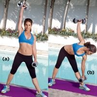 Triangle Press - Stand with your feet about three feet apart, with your right foot pointing forward and your left foot pointing sideways; hold eight-pound weights at your sides. Extend your right arm overhead, then reach the left weight toward your left ankle. Go as far as you can, then reverse to return to standing. That's one rep. Do 15, then repeat on the other side.