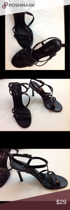Aldo Black Sandals w/Strap w heel Sz 37 Like new, very gently used, still in a box. Aldo Sandal w/ strap beautiful sandal for the summer Aldo Shoes Sandals