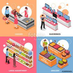ベクター: Supermarket Isometric Concept Icons  Set点