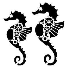 steampunk seahorse stencil craft,fabric,glass,furniture,wall art in | eBay
