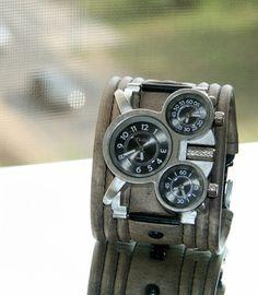 """Men's wrist watch leather bracelet """"Tuareg-5"""" - SALE - Worldwide Shipping - Rocker Biker Steampunk watches"""
