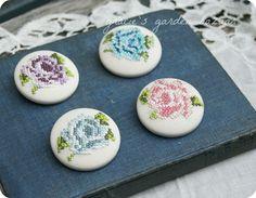 Cross stitched rose pins by Gracie's Garden Bazaar, via Flickr