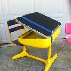 Retro vintage school desk refurbished for Theo