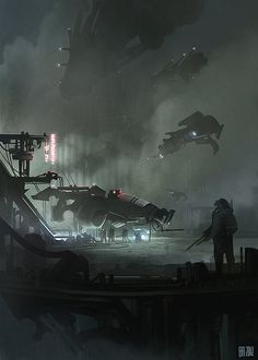'Maintenance' by Ben Andrews, cyberpunk, dystopia, dark, science fiction… Sf Wallpaper, Space Opera, Sci Fi City, Futuristic City, Futuristic Vehicles, Science Fiction Art, Science Art, Cyberpunk Art, Environment Concept Art