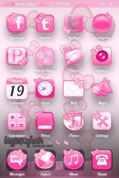 Hello Kitty Icons on iphone Cat App, Kitty App, Hot Pink, Hello Kitty Items, Hello Kitty Wallpaper, Iphone Icon, Sanrio Characters, Everything Pink, Girly Things
